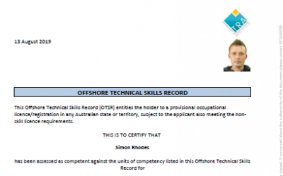 OFFSHORE TECHNICAL SKILLS RECORD